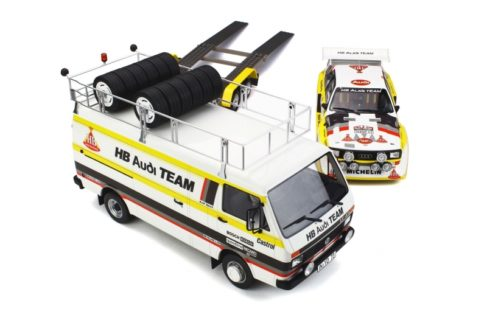 OTTO-MOBILE – AUDI – RALLY SET – VOLKSWAGEN LT45 VAN + TRAILER + AUDI TEAM HB ASSISTANCE WITH AUDI SPORT QUATTRO HB N 3 RALLY PORTUGAL 1986 W. ROHRL CH. GEISTDORFER