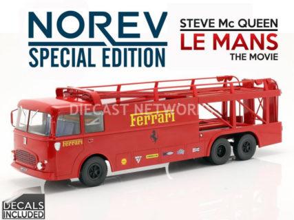 NOREV – FIAT – BARTOLETTI 306/2 TRUCK 3-ASSI CAR TRANSPORTER 24h LE MANS 1970 MOVIE – STEVE McQUEEN
