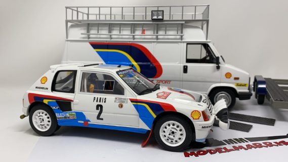 OTTO-MOBILE – PEUGEOT – RALLY SET – PEUGEOT 205 TURBO T16 N 2 WINNER RALLY MONTECARLO 1985 A. VATANEN – T.HARRYMAN + J5 VAN ASSISTANCE TALBOT + TRAILER