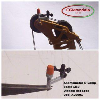 Anemometro e lampeggiante per gru in diecast 1/50 CGM