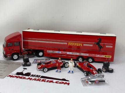 BRUMM – IVECO FIAT – 190 TRUCK F1 CAR TRANSPORTER SCUDERIA FERRARI ITALY GP GP 1982 – 2 X 126C2 N 27 P.TAMBAY – N 28 M.ANDRETTI + FIGURES AND ACCESSORIES 1/43