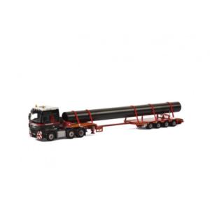Mammoet ; MAN TGX XXL 6×2 + 4 axle lowloader + pipe – WSI – 410211 – 02-1833 – 1:50