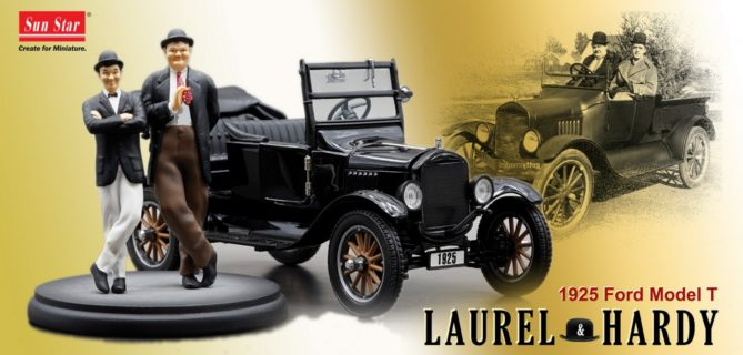SUN-STAR – FORD USA – MODEL T CABRIOLET OPEN 1925 WITH FIGURES STAN LAUREL & OLIVER HARDY – STANLIO E OLLIO
