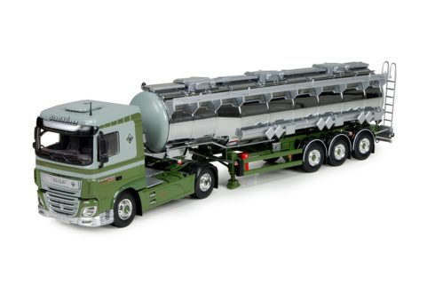 DAF XF Euro 6 Space Cab met 3-assige verchroomde tankoplegger – Tekno – 75445 – 1/50