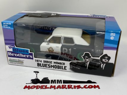 GREENLIGHT – DODGE – MONACO BLUESMOBILE 1974 – THE BLUES BROTHERS – GREEN WHEELS -LIMITED EDITION-