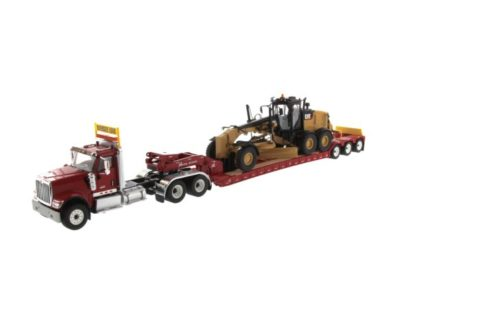 International HX520 Tandem Tractor red + XL 120 Trailer w/ CAT 12M3 Motor Grader – DIECAST MASTERS – 85598 – 1:50