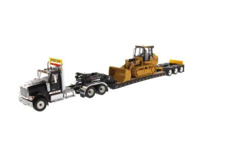 International HX520 Tandem Tractor black + XL 120 Trailer w/ Cat 963K Track Loader – DIECAST MASTERS – 85599 – 1:50