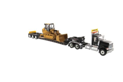 85599 International HX520 Tandem Tractor black + XL 120 Trailer w/ Cat 963K Track Loader – DIECAST MASTERS 1/50