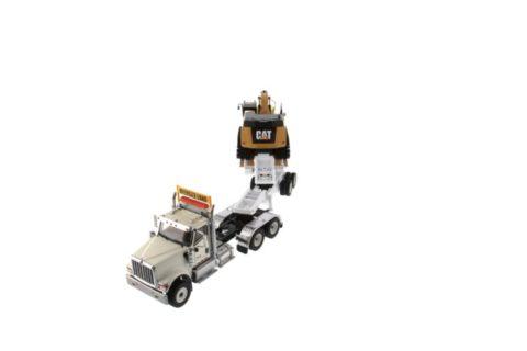 85600 International HX520 Tandem Tractor white + XL 120 Trailer w/ CAT 349F L XE Excavator – DIECAST MASTERS 1/50