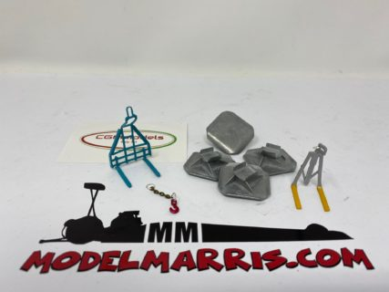 TOWER CRANE ACCESSORY – TCA001 – 1x sottogancio – 2x forche – 4x piedi – 1/50 – CGM MODELS – METALLO MADE IN ITALY