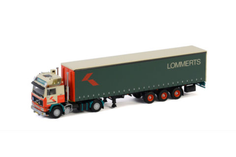 Lommerts; VOLVO F12 GLOBETROTTER 4X2 CURTAINSIDE TRAILER – 3 AXLE – 1:50 – WSI – 01-3071