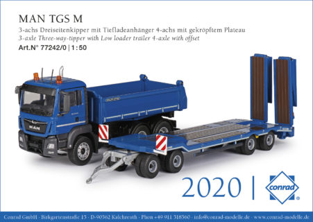 MAN TGS M 3-axle Three-way-tipper with low loader trailer 4-axle with offset CONRAD 77242/0