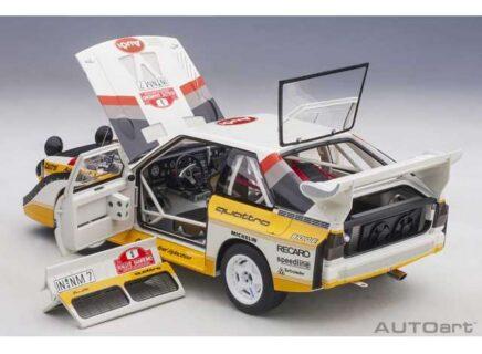 AUTOART – 1/18 – AUDI – QUATTRO SPORT E2 S1 (night version) N 5 WINNER RALLY SANREMO 1985 W.ROHRL – C.GEISTDORFER – YELLOW WHITE RED