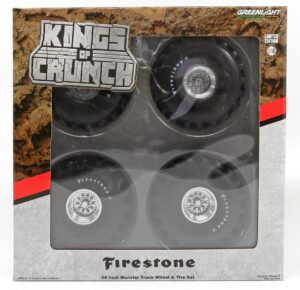 GREENLIGHT – ACCESSORIES – SET 4X WHEELS FIRESTONE MONSTER TRUCK – SET 4 RUOTE – SILVER BLACK – 13558 – 1:18