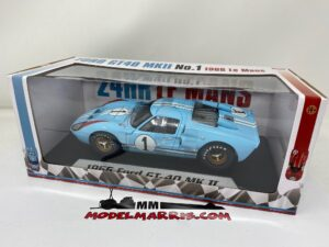 SHELBY-COLLECTIBLES – FORD USA – GT40 MKII 7.0L V8 TEAM SHELBY AMERICAN INC. N 1 2nd (BUT REALLY WINNER) 24h LE MANS 1966 K.MILES – D.HULME – SHELBY411BLUEBOX – 1:18