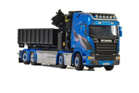 Blue Shine; SCANIA STREAMLINE HIGHLINE 8×2 TAG AXLE PALFINGER 7400.2 + HOOK LIFT CONTAINER 15m3 – WSI – 01-2195 – 1:50