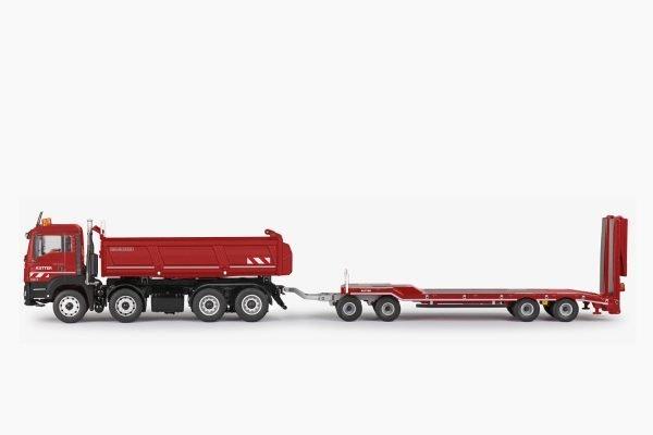 "MAN TGS M E6C - Vasca ribaltabile 4 assi 4 x 2 + trasporto mezzi 4 assi ""KUTTER"" - CONRAD - 77247/0"