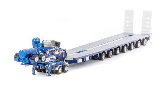 Metallic Blue; 7X8 STEERABLE METALLIC BLUE TRAILER WITH 2X8 DOLLY – DRAKE – zt09076 – 1:50