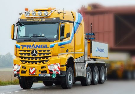 Prangl; MERCEDES-BENZ AROCS MP4 2.300MM STREAM SPACE 8X6 LOW LOADER – 5 AXLE | DOLLY – 3 AXLE – WSI – 01-3362 – 1:50