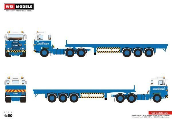 * PREORDINE - Q2-2021 * Econofreight; SCANIA 1 SERIES 6X4 FLAT BED TRAILER - 3 AXLE - WSI - 01-3368
