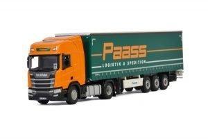 Paass Spedition GmbH; SCANIA R HIGHLINE | CR20H 4X2 CURTAINSIDE TRAILER – 3 AXLE – WSI – 01-3227 – 1:50