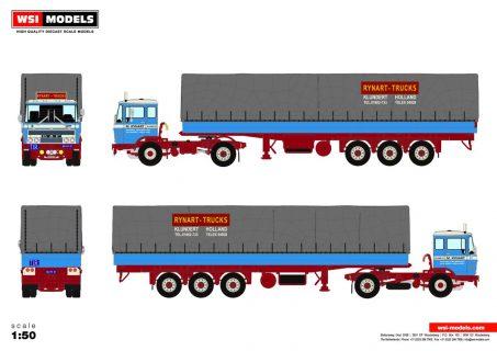 * PREORDINE – Q2-2021 * Rynart-Trucks; DAF 2600 4X2 CURTAINSIDE TRAILER   CLASSIC – 3 AXLE – 01-3401 – 1:50