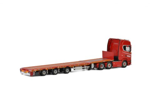 NOOTEBOOM KNT Red Line; SCANIA S HIGHLINE CS20H 6×2 MEGATRAILER FLATBED – 3 AXLE – WSI – 5661640 – 02-2293 – 1:50