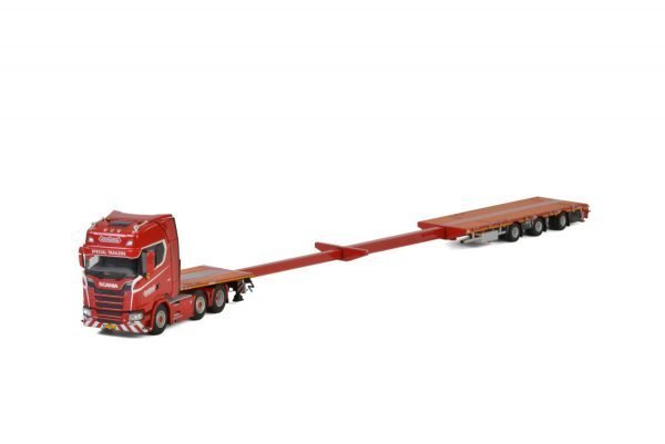 NOOTEBOOM KNT Red Line; SCANIA S HIGHLINE CS20H 6x2 MEGATRAILER FLATBED - 3 AXLE - WSI - 5661640 - 02-2293 - 1:50
