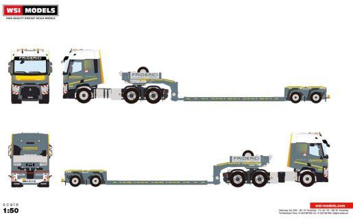 *PREORDINE – Q3-2021 * – Friderici; RENAULT T TRUCKS T 6X4 LOW LOADER   EURO- 2 assi – WSI – 01-3430 – 1:50