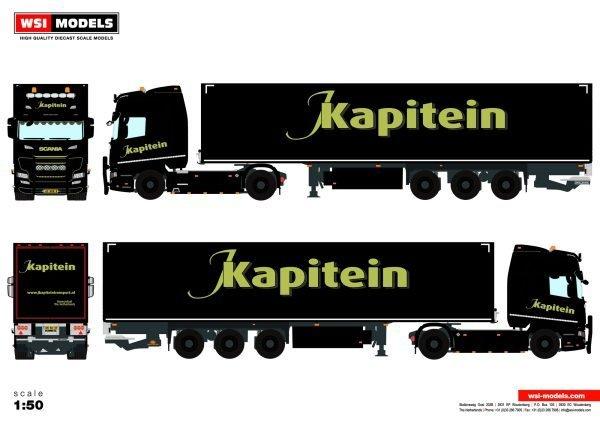 J. Kapitein Transport; SCANIA R HIGHLINE | CR20H 4X2 BOX TRAILER - 3 AXLE - WSI - 01-3442 - 1:50