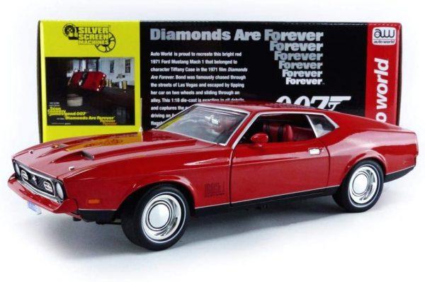 FORD USA - MUSTANG MACH 1 COUPE 1971 - 007 JAMES BOND - DIAMONDS ARE FOREVER - UNA CASCATA DI DIAMANTI - AUTOWORLD - AQSS126 - 1:18