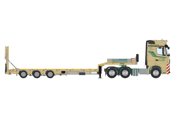 H.N. Krane Mercedes Benz Actros GigaSpace 6x4 with Nooteboom MCOS Semi Low Loader 4 axle - IMC - 32-0124 - 1:50