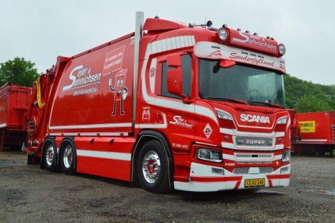 Scania Next Gen P-serie 580-V8 – Sejer & Sonnichsen – Tekno 76163 – Camion spazzatura / garbage truck