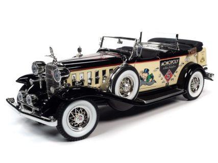 1932 CADILLAC V16 SPORT PHAETON MR. MONOPOLY CAR & RESIN FIGURE – AUTO WORLD – AWSS127M – 1:18