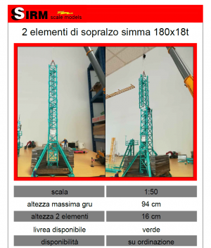 Simma Crane 2 lementi di sopralzo 180x18t (h 94cm) Sirm Scale Models