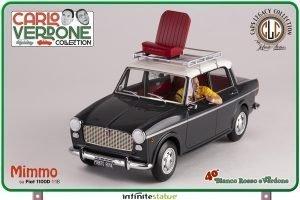 CLC-MODELS – FIAT – 1100D WITH MIMMO FIGURE (CARLO VERDONE) 1981 BIANCO ROSSO E VERDONE MOVIE